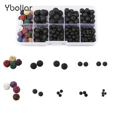 1box 300pcs Lava Stone Round Beads 4mm 6mm 8mm 10mm Natural for Diffuser Locket Necklace/Bracelet Jewelry Making DIY