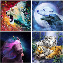 Unicorn Lion Tiger Full Square Drill Sale Animal Art Diamond Painting Embroidery Home Room Decoration Dolphin Cross Stitch Kit