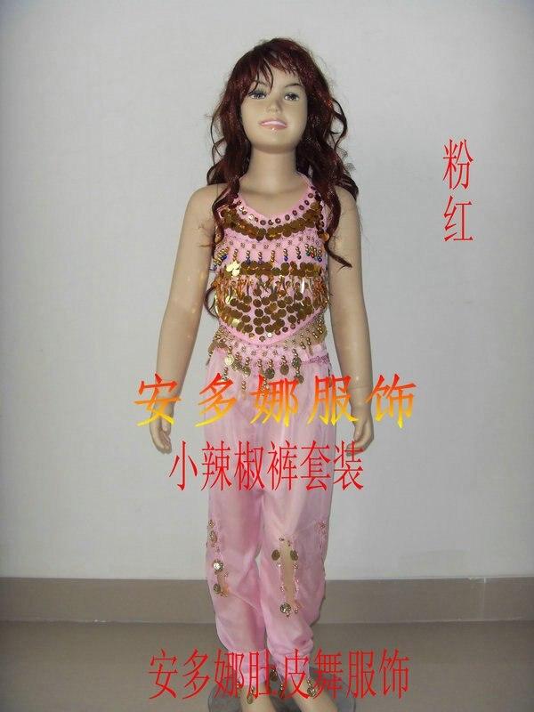 Танец живота костюм комплект Топ и Штаны Fit Детская высота 90-130 см, дети От 6 до 13 лет 6 видов цветов Выберите - Цвет: Pink