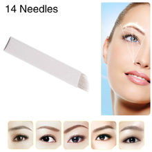 CHUSE S14 Permanent Makeup Needles Eyebrow Microblading Manual Bevel Sterilized Blades 14-Pins For Tattoo Machine And Pen 100Pcs