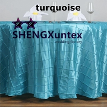 Taffeta Pintuck Table Cloth \ Round Tablecloth   Turquoise Color