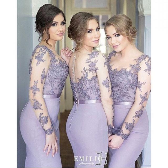 Scoop Long Sleeves Memraid Lace Bridesmaid Gowns Peach/Ivory ...