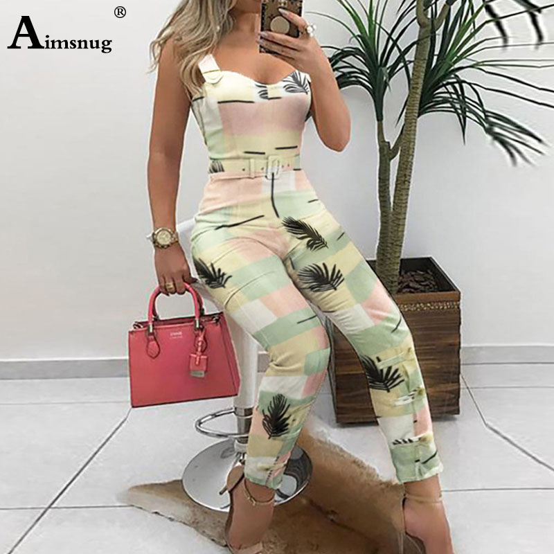 Aimsnug Office Lady Jumpsuits V Neck Buckle Overalls Women Body Femme Macacao Feminino Leaf Print Playsuit Sleeveless Jumpsuit