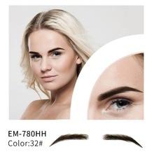 Neitsi kadın tek çift sahte kaşları gerçekçi rahat % 100% insan saçı el yapımı sahte kaşlar makyaj parti EM 780HH 3 #