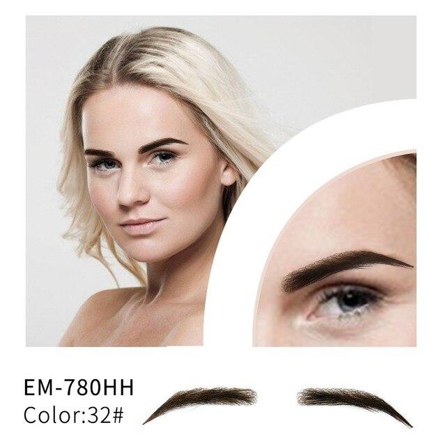 Neitsi kobieta jedna para fałszywe brwi realistyczne wygodne 100% ludzkie włosy Handmade fałszywe brwi do makijażu Party EM 780HH 3 #