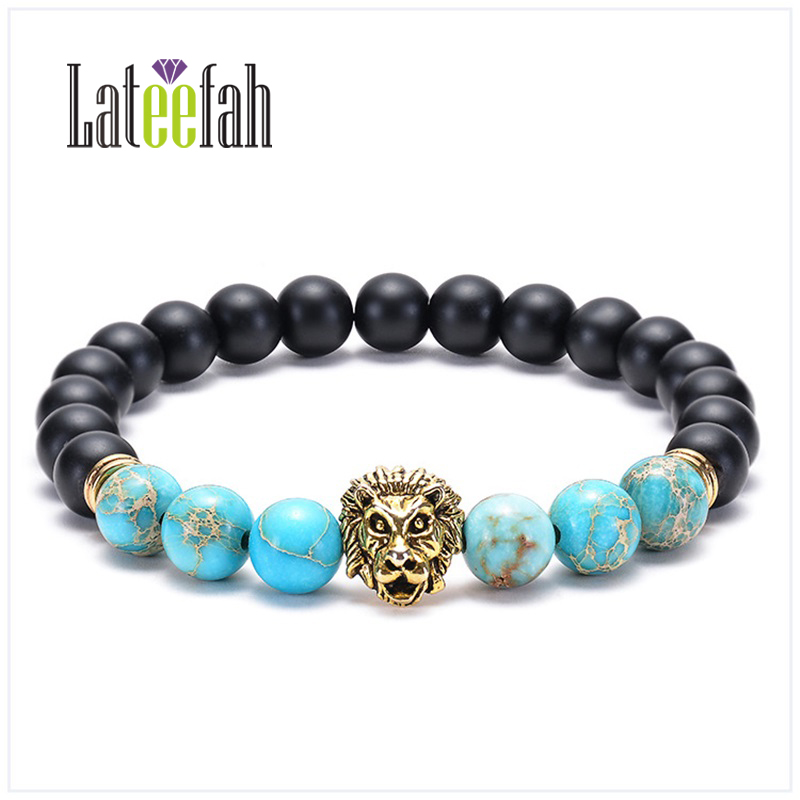 Lateelah Fashion Jewelry Frosted Stone Owl Leopard Lion Bracelet Emperor Buddha Head Natural Bead for Men