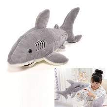 2017 66cm Soft Plush Stuffed Marine Animal Gray Shark Plush Toys High Quality Stuffed Dolls Brinquedos For Boys Christmas Gift(China)
