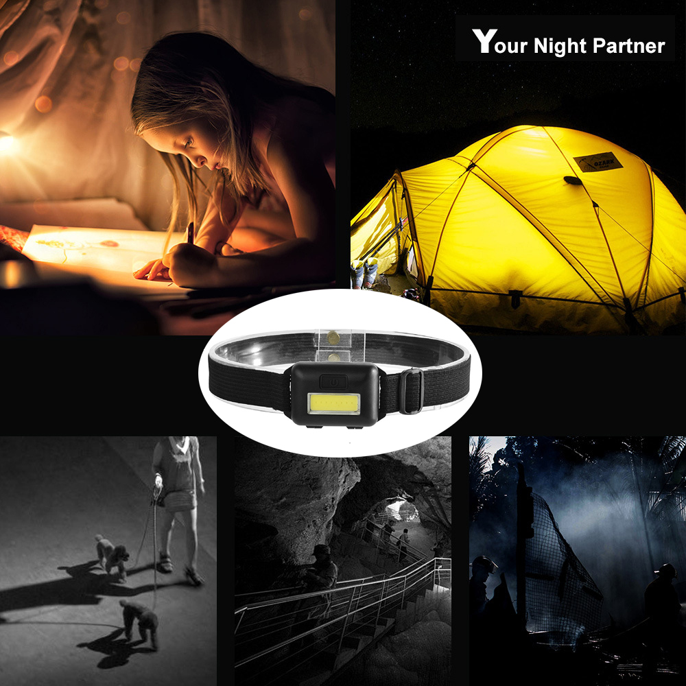 Купить с кэшбэком Waterproof COB Headlight 3 Lighting Modes LED Mini Headlamp Use 3 AAA Batteries Suitable for Outdoor Fishing, Camping, Etc.