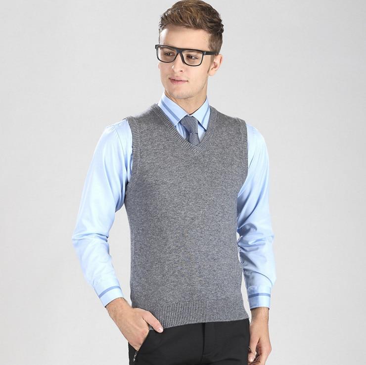 2017 New 35%Wool V Neck Men sleeveless knitted Vest Business ...