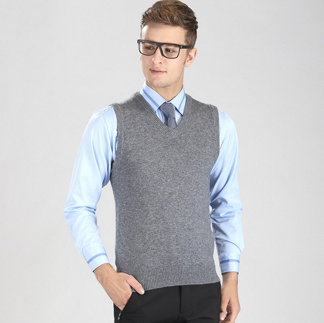 7157234d6 2017 New 35%Wool V-Neck Men sleeveless knitted Vest Business casual warm  Men sweaters Grey Black