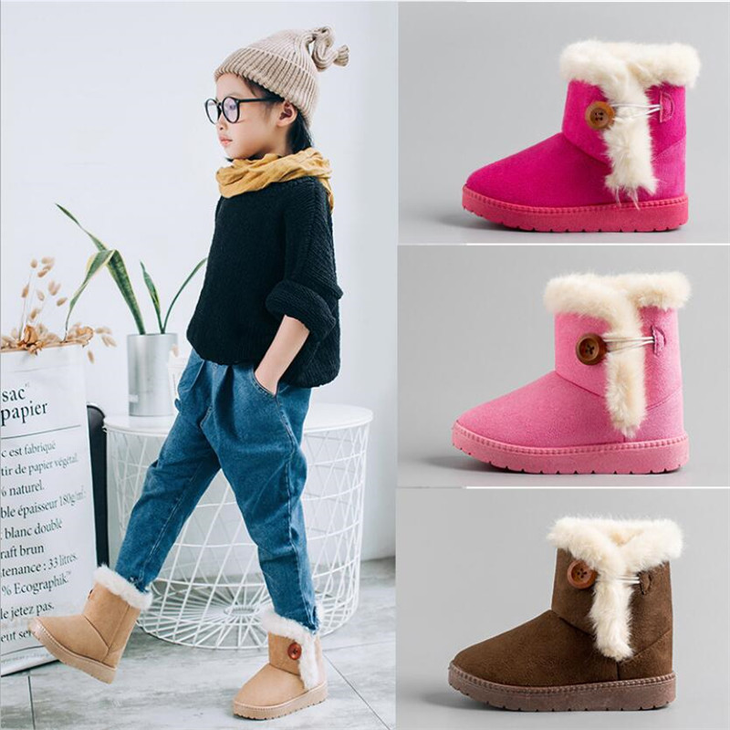 Mhyons New Winter Children Boots Thick Warm Shoes Cotton-padded Suede Buckle Boys Girls Boots Boys Snow Boots Kids Shoes B9