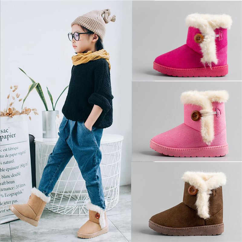 MHYONS 2019 yeni kış çocuk çizmeler kalın sıcak ayakkabı pamuk-yastıklı süet toka erkek kız çizmeler erkek kar botları çocuklar ayakkabı B9