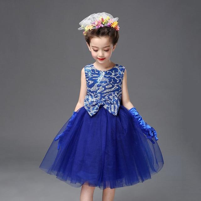 2-13Y Children Mini Short Ball Gown Dresses for Juniors Purple Blue Sequin  Top roupas de danca meninas Party Dresses for Girl 95e62b79bb54