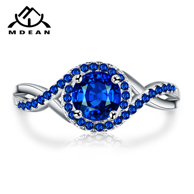 MDEAN White Gold-Color Rings for Women blue AAA Zircon Jewelry Engagement Classic Bijoux Bague accessories Size 6 7 8 9 10 H469