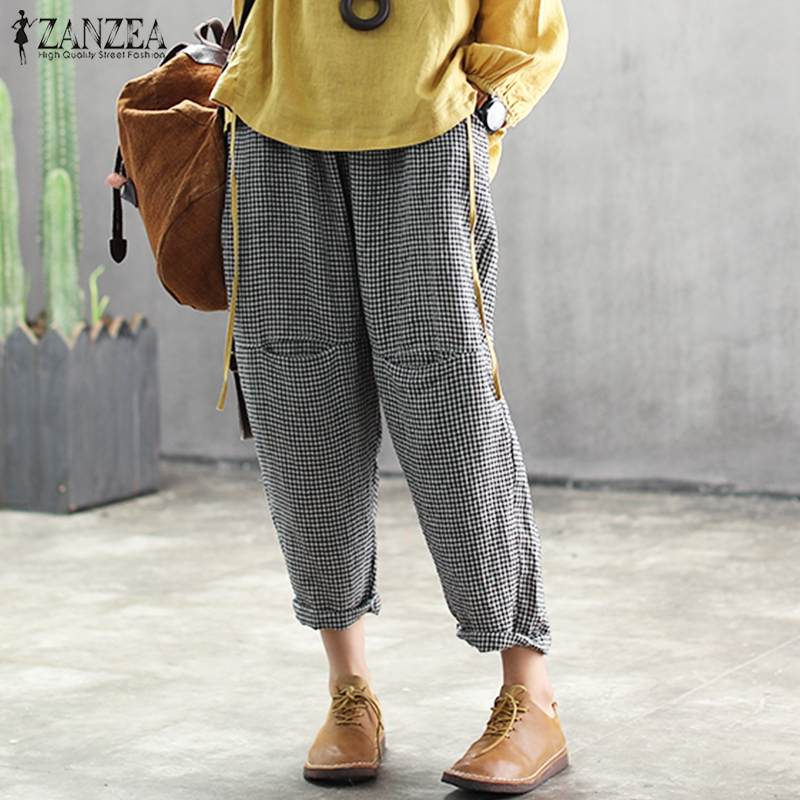 ZANZEA Women Cotton Linen Plaid Harem   Pants   Casual Loose Pockets Long Trousers   Wide     Leg   Pantalones Streetwear Sweatpants S-5XL
