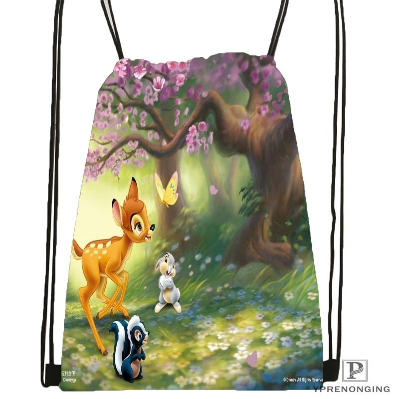 Custom Bambi and Faline Adults Drawstring Backpack Bag Cute Daypack Kids Satchel Black Back 31x40cm 180531