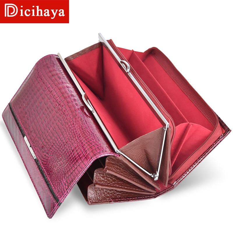 DICIHAYA Trend Wallet Female Women Wallet Long Wallet High Quality Coin Purse Women Button Purse Genuine Leather Zipper Wallets