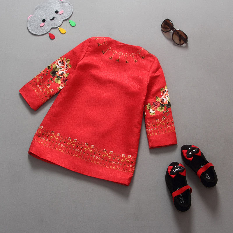 Moda Red Girls Cardigan Printing Dziecko Zima Płaszcze Festiwal - Ubrania dziecięce - Zdjęcie 2