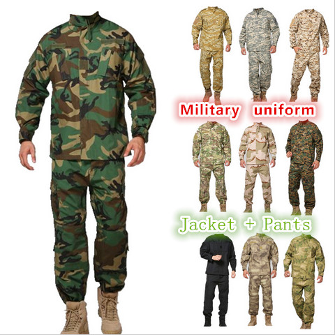 Army military tactical cargo pants uniform waterproof camouflage tactical military bdu combat uniform us army men clothing set us army digital desert camo bdu uniform set war game tactical combat shirt pants ghillie suits