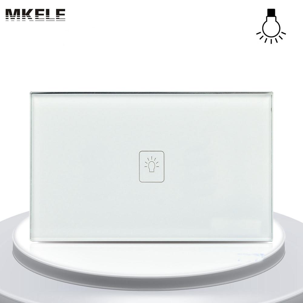 High Quality Switch US Standard Dimmer Touch Sensor Switche 1 Gang Way White Glass Panel LED Wall Light  Electrical smart home us au wall touch switch white crystal glass panel 1 gang 1 way power light wall touch switch used for led waterproof