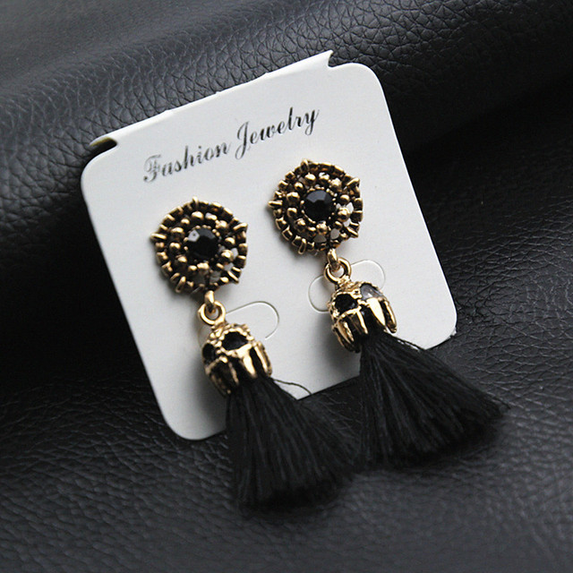 E0187 Vintage Crystal Earring Exquisite Handmade Red Black Gray Tassel Earring For Women Fashion Wedding Party Jewelry Wholesale 4