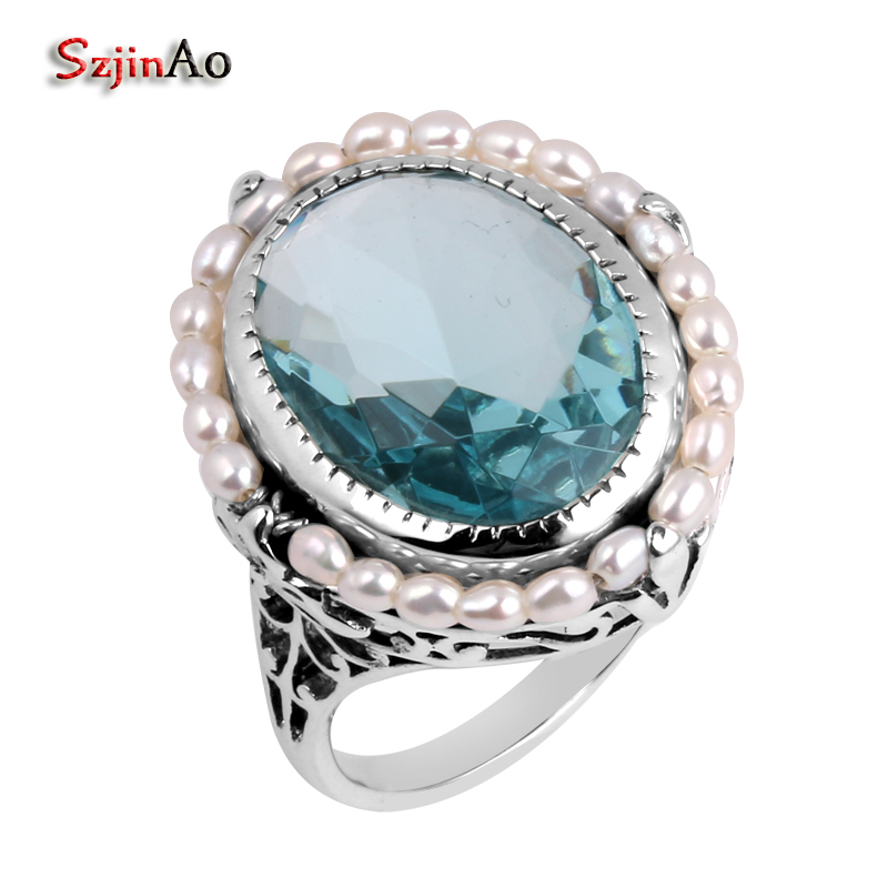 Szjinao Fashion Women Antique Jewelry Replica Natural Pearl Aquamarine 925 Sterling Silver Wedding Ring Handmade Hot Sale replica ki134 7x18 5x114 3 d67 1 et41 silver