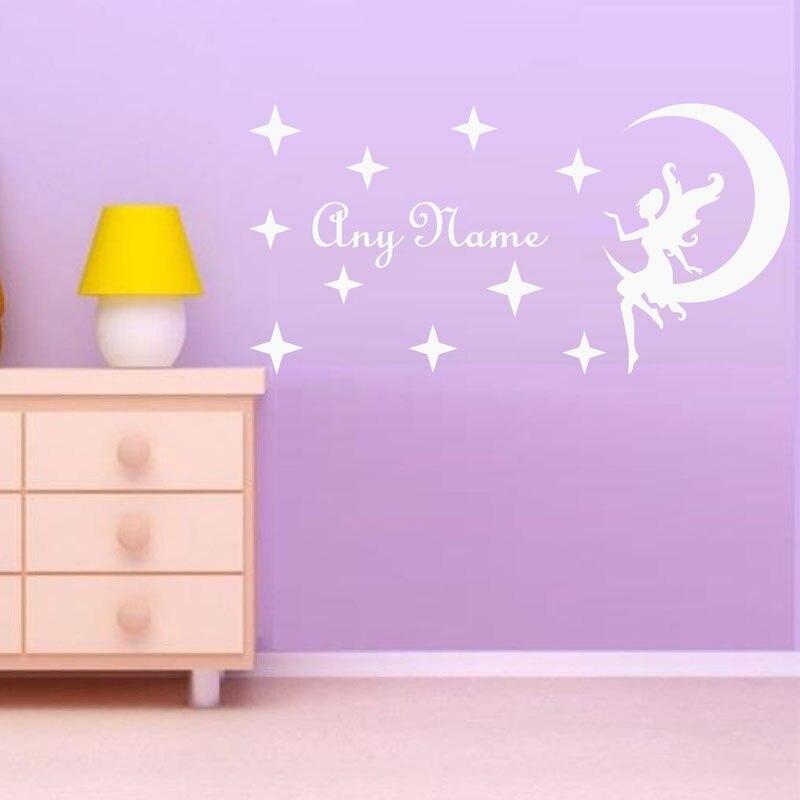 Ангел сидя на Луне Наклейки на стену для Обувь для девочек Спальня Наклейки на стены Домашний Декор настроены имя Наклейки Размеры 60x30 см