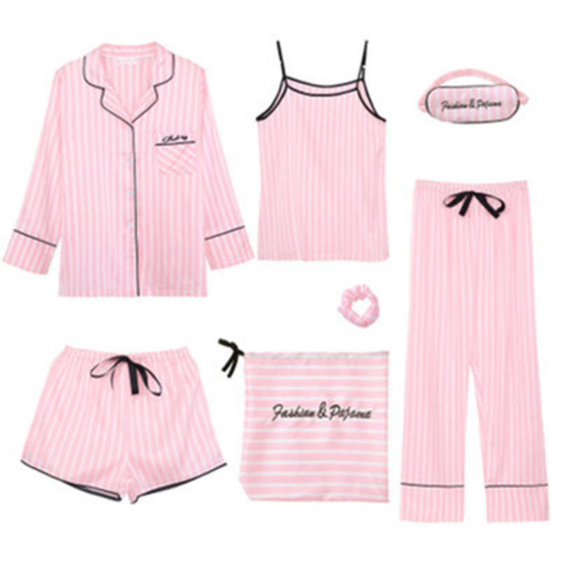 7-PCS-Pink-Striped-Pajamas-Silk-Satin-Femme-Pajama-Set-Stitch-lingerie-Robe-pyjamas-Women-Sleepwear (3)