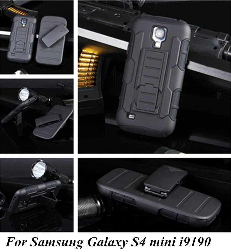 Luxury Military Style Tough Hybrid Armor case For Samsung Galaxy S4mini S4 SIV Mini i9190 with Capa Kickstand Lock Belt Clip