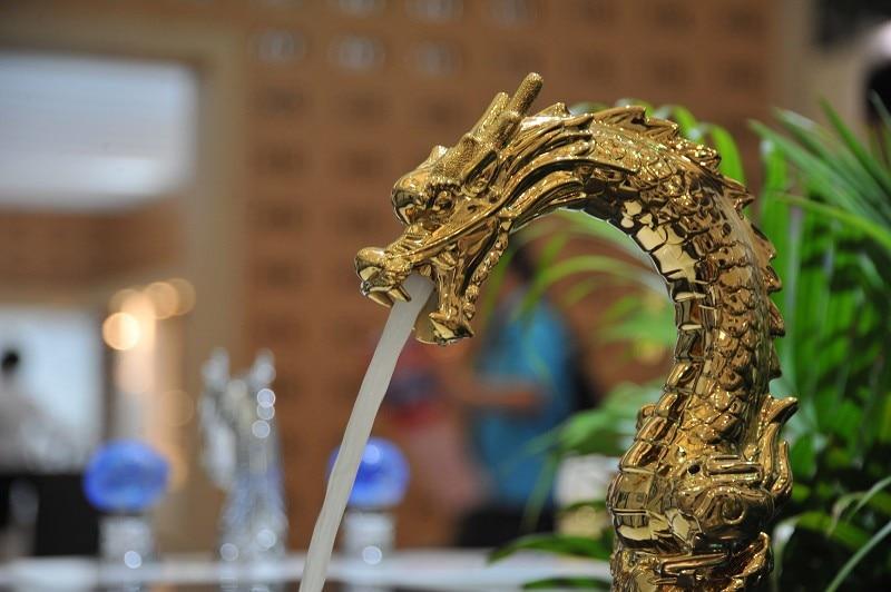 Free Shipping Gold Clour Dragon Faucet Bathroom Lav Sink