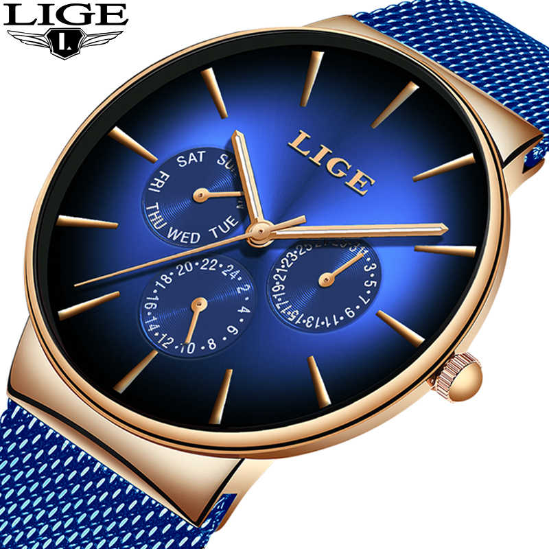 2019 New LIGE Cool Creative Watch For Mens Watches Top Brand Luxury Male Casual Ultra-Thin Mesh Belt Waterproof Quartz Clock+Box