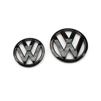 цена на 110mm Gloss Black Front Grill Badge Logo + 90mm Rear Trunk Lid Emblem Replacement for VW Volkswagen Scirocco MK3