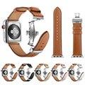 Ремешок для часов Apple iWatch  из натуральной кожи  с пряжкой-бабочкой  для Apple Watch 1  2  3  4  38  42  40  44 мм