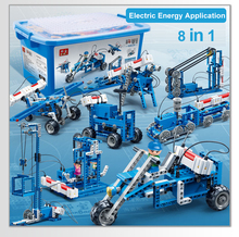 Science Manual Electric energy power generation vehicle block building robot Compatible legoed Assembly For Children technic Toy