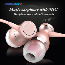 BANMIX 1 Portable speaker Metal Magnetic Sport Running Earphone In-Ear Earbuds Clarity Stereo Sound With Mic for Mobile phone PC