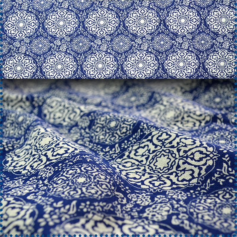 CF109 1 Meter Chinese Blue and White Porcelain Fabric 100% Cotton ...
