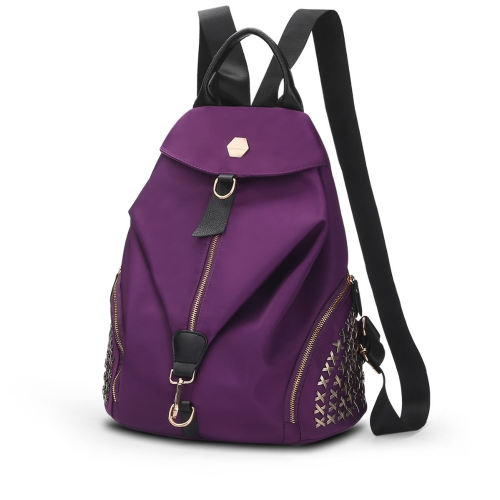2017 Famous Design Waterproof Rivet Nylon Backpack shoulder bag fashion leisure cloth Women Backpack School