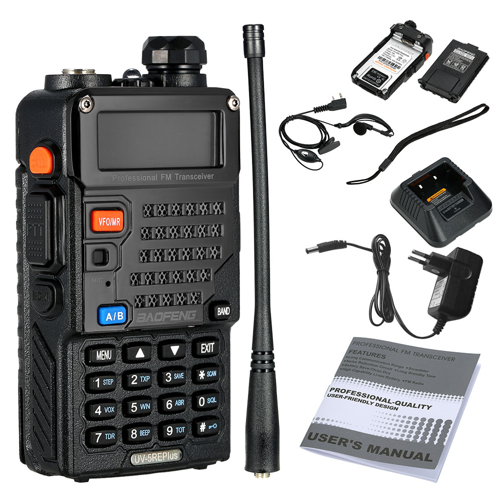 Baofeng 5RE Plus 5w Ham Radio Walkie Talkie VHF UHF 136-174mhz 400-520mhz Black Color Two Way Radio Free Shipping From Moscow