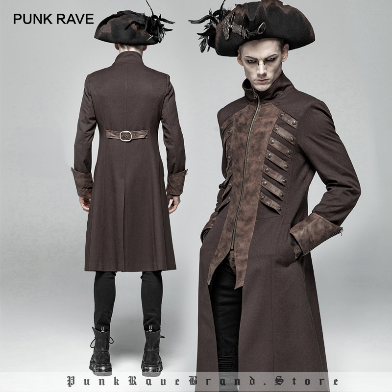 PUNK RAVE Men's Steampunk Mid-length Jacket Coats Gothic Fashion Men Performance Party Club Coat Stage Perform Male Cool Jacket