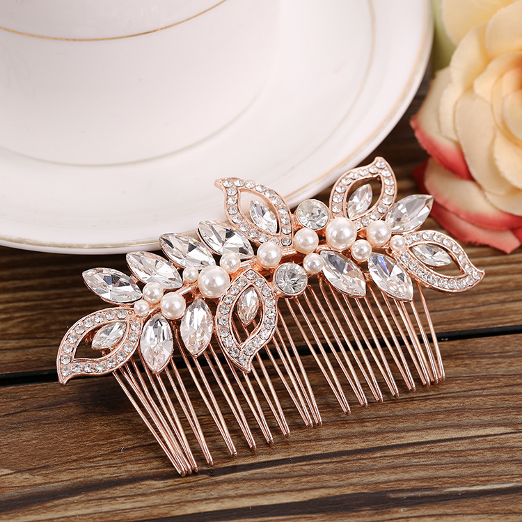 Hot Sale Le Liin Rose Gold Bridal Cz Hair Comb Bride Pearl Headpiece