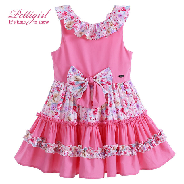 Pettigirl New Summer Pink Cotton Girl Dress With Bowknot Adorable