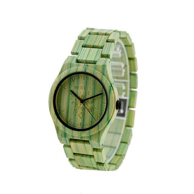 BEWELL luxe top merk natuurlijke bamboe hout horloge erkek kol saati lovers gift klok heren horloges relogio masculino 105DG