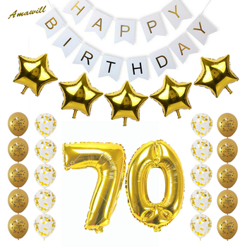 Amawill Happy Birthday Party Decoration Balloons For 70th Adults with Gold Confetti Balloon 70 Years Old Party Supplies 75D