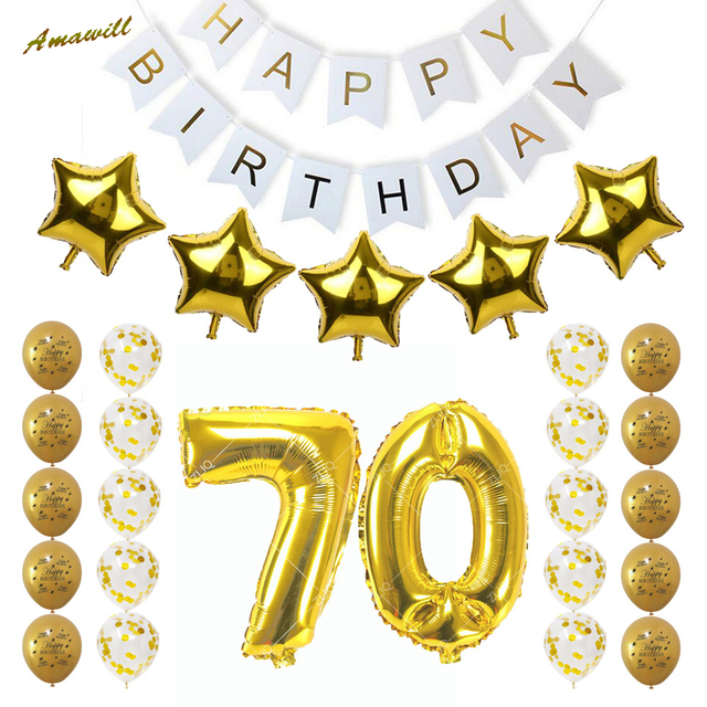 Amawill Happy Birthday Party Decoration Balloons For 70th Adults With Gold Confetti Balloon 70 Years Old Supplies 75D