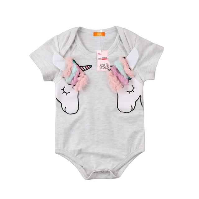 f883b9f4c337 Cute Baby Girls 3D Cartoon Unicorn Romper Newborn Girls Short Sleeve Romper  2018 New Bebes Cotton Jumpsuit Summer Baby Clothing