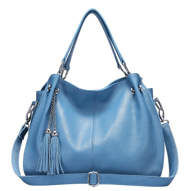 Fashion Tassel Women's Handbag Natural Genuine Leather Shoulder bag Hobos Large Capacity Female Crossbody Messenger Purse Tote
