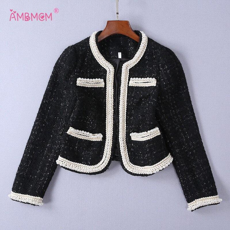 Veste À 2018 Longues Rétro Tops Perles Manches Femelle Poches New Tweed Manteaux Noir Décorer Carreaux Vintage Ambmcm Manteau Survêtement rqIqzHw