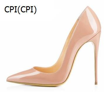 NEW brand women pumps high heel shoes Genuine Leather pointed toes nude black patent leather wedding shoes 8cm 10cm 12cm 34-44 brand new hot sale blue red yellow black green glossy patent leather women nude flats ladies shoes av123 plus big size 49 10 13