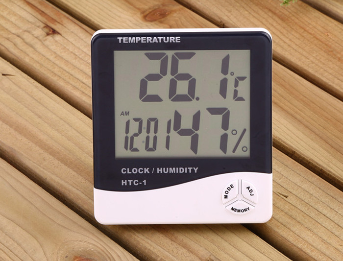 Digital Thermometer Hygrometer Weather Station Digital Temperature Humidity Meter with clock Moisture Meter HTC-1 wholesale 5pcs 4pcs lcd digital hygrometer humidity thermometer temperature meter with clock