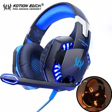 KOTION EACH Gaming Headphones Headset Deep Bass Stereo wired gamer Earphone Microphone with backlit for PS4 phone PC Laptop folding stereo bass headset 3 5mm wired music earphone headphones with microphone gaming headset for phone mp3 pc computer